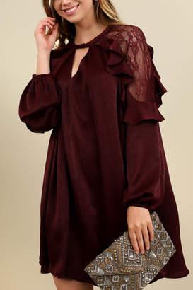 Umgee USA Satin Keyhole Ruffle Dress