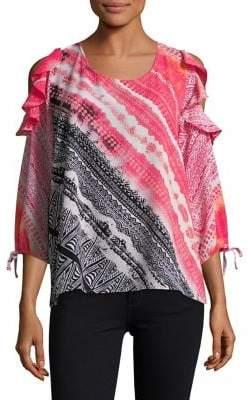 Rafaella Petite Tie-Dye Printed Cold-Shoulder Top