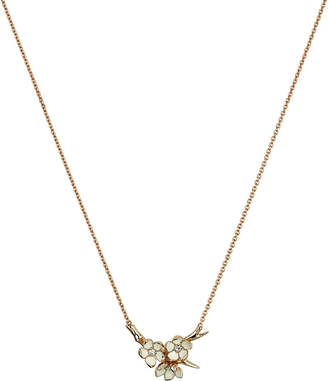 Shaun Leane Cherry Blossom rose-gold vermeil, ivory enamel and diamond branch pendant small