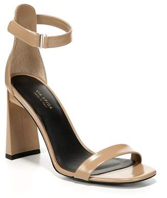 Via Spiga Faxon Leather Open Toe Block Heeled Sandal