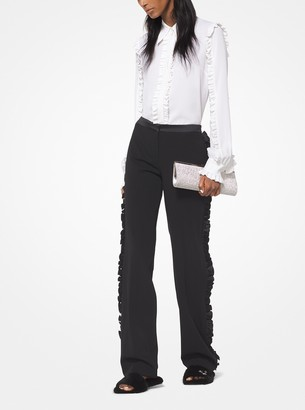 Michael Kors Wool-Serge Ruffled Tuxedo Pants