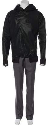 Boris Bidjan Saberi JP4 Cowl Hood Leather Jacket