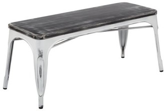 Office Star OSP Designs by Products Bristow Antique Bench with Vintage Wood Seat, Multiple Colors