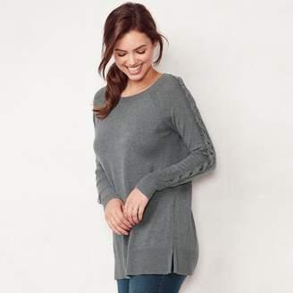 Lauren Conrad Petite Lace-Up Sleeve Tunic Sweater