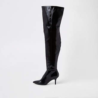 River Island Black slouch over the knee boots