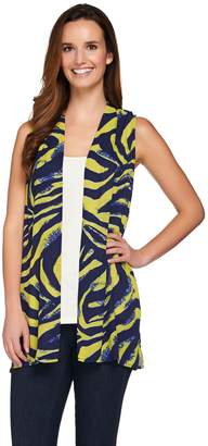 Susan Graver Printed Feather Weave Open Front Vest