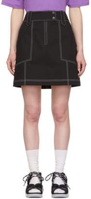 Kenzo Black Topstitch Miniskirt