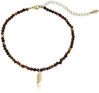 Ettika Too Ticklish Tiger's Eye and Gold Choker Necklace