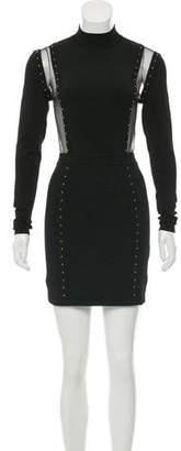 Balmain Embellished Sheer-Paneled Dress