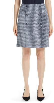 St. John Contrast Geometric Knit Sailor Skirt