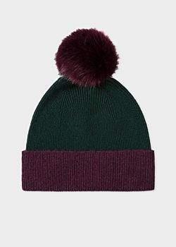 Women's Dark Green and Damson Pom-Pom Wool Hat