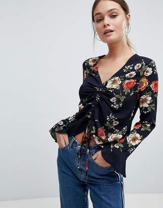 PrettyLittleThing Floral Ruched Long Sleeve Top