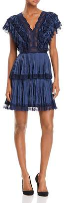 Alice + Olivia Lanora Pleated Tiered V-Back Dress