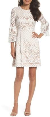 Petite Women's Eliza J Bell Sleeve Fit & Flare Dress $158 thestylecure.com