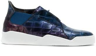 Last Sole hi-top croc effect sneakers