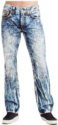 True Religion Men's Straight Red Orange Big T Jeans w/Flaps in