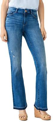DL1961 Bridget Distressed Released-Hem Boot Jeans in Sutherland