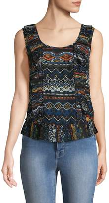 Plenty by Tracy Reese Women's Pleated Shell Printed Top