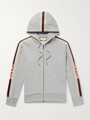 Gucci Logo Webbing-Trimmed Loopback Cotton-Jersey Zip-Up Hoodie - Men - Gray