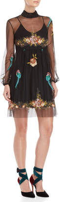 Blugirl Floral Embroidered Tulle Dress