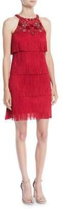 Aidan Mattox Fringe Flapper Mini Dress w/ Beading