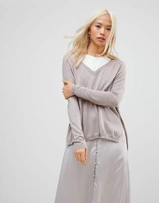 Subtle Luxury Anchor Cuff V-Neck Sweater