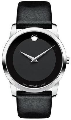 Movado 40mm Museum Classic Watch with Leather Strap, Black $495 thestylecure.com