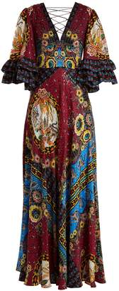 Etro Jungle-print V-neck silk-satin gown