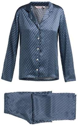 Derek Rose Brindisi 32 Silk Charmeuse Pyjama Set - Womens - Navy Multi