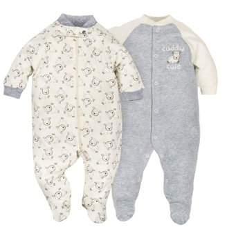 Gerber Newborn Baby Boy or Girl Unisex Organic Zip Front Sleep 'N Play, 2-pack