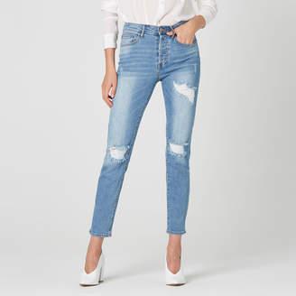 DSTLD High Waisted Destructed Mom Jeans in Light Vintage