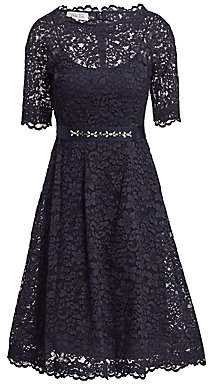 Teri Jon by Rickie Freeman Women's Lace Flared Dress