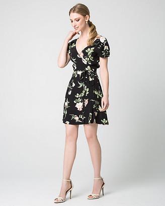 Le Château Floral Print Viscose Crepe Faux Wrap Dress