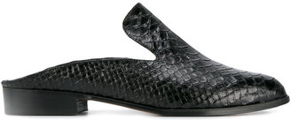 Robert Clergerie Alice crocodile embossed mules $495 thestylecure.com