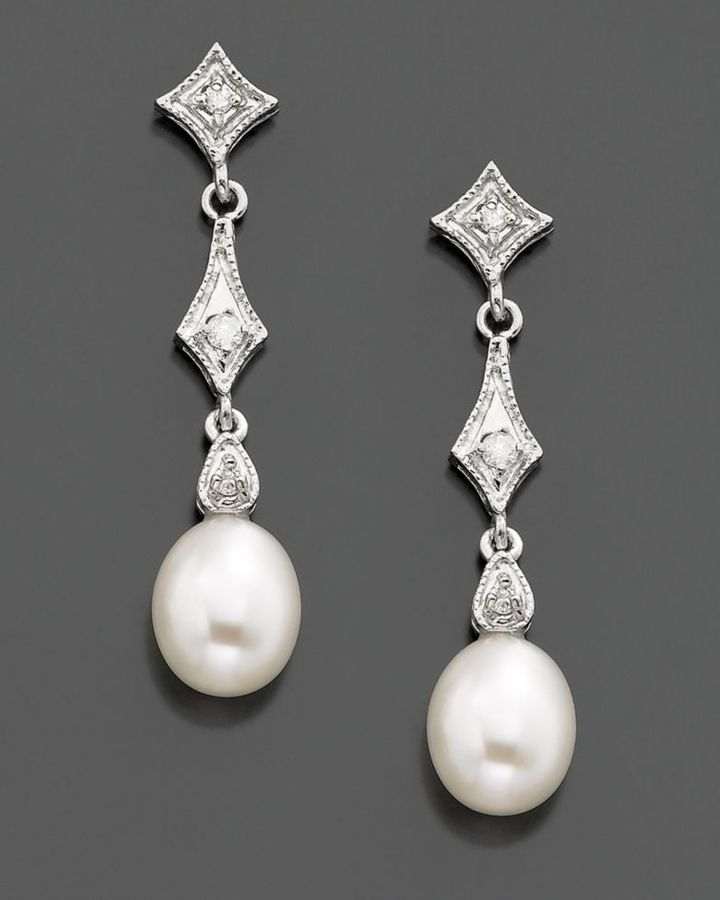 14k White Gold Cultured Freshwater Pearl & Diamond (1/10 ct. tw.) Drop Earrings