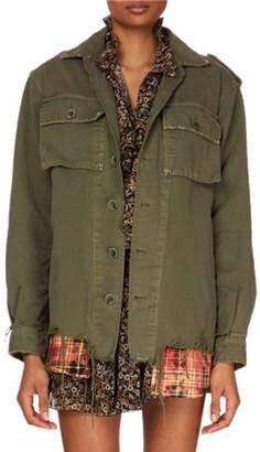 Redemption Button-Down Long-Sleeve Military Jacket w/ Plaid Shirttail Hem