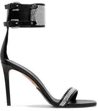 Balmain Embellished Leather Sandals - Silver