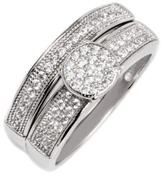 Micropave PORI JEWELERS Pori Jewelers CZ Sterling Silver Circle Micro-Pave Engagement Ring and Band