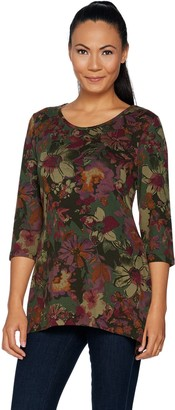 Denim & Co. Brushed Heavenly Jersey Trapeze Floral Tunic