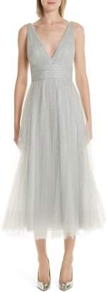 Marchesa Glitter Tulle Tea Length Dress