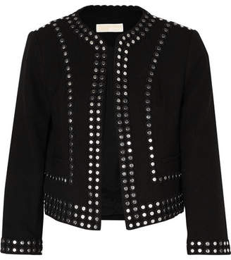 MICHAEL Michael Kors Cropped Studded Crepe Jacket - Black