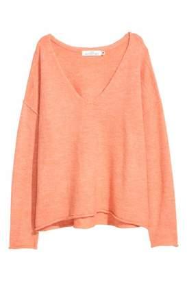 H&M V-neck Sweater - Light gray melange - Women