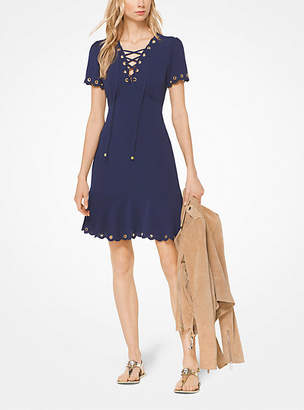 Michael Kors Lace-Up Scalloped Crepe Dress