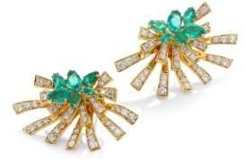 Hueb Mirage Diamond& Green Emerald Stud& Ear Jacket Set