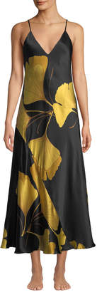 05127059f6 Ginkgo Leaf-Print Long Silk Nightgown