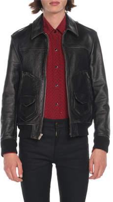 Saint Laurent Men's Distressed Leather Bomber Jacket