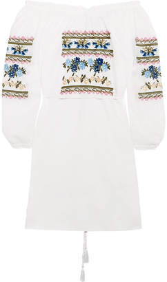 Needle & Thread Off-the-shoulder Embroidered Cotton-poplin Mini Dress - White
