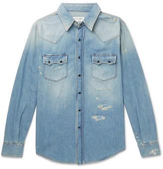 Saint Laurent Slim-Fit Distressed Denim Shirt