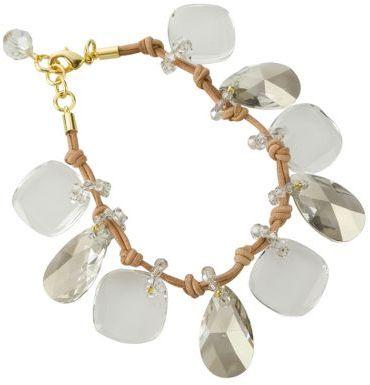 Gallery design crystal & leather bracelet