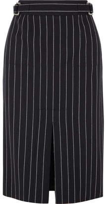 Tom Ford Pinstriped Wool Midi Skirt - Black